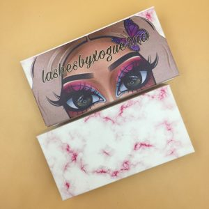 Pink Marble Eyelash Packaging Boxes With Doll