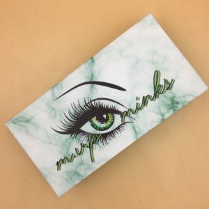 Custom Green Marble Eyelash Packaging Boxes With Logo
