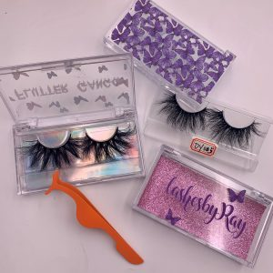 Acrylic Eyelash Packaging Boxes With Purple Butterflies
