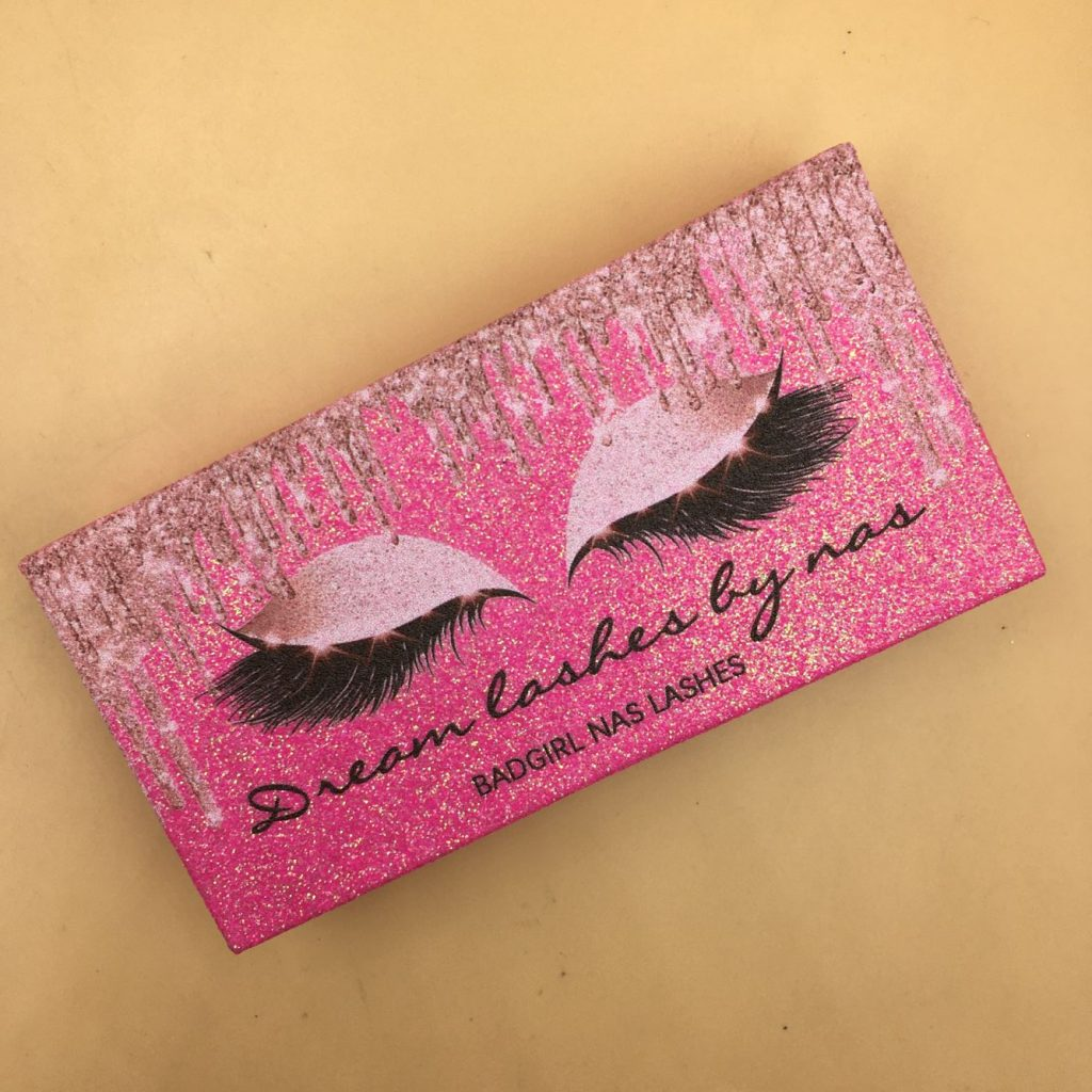 Pink Glitter Eyelash Packaging Boxes With Private