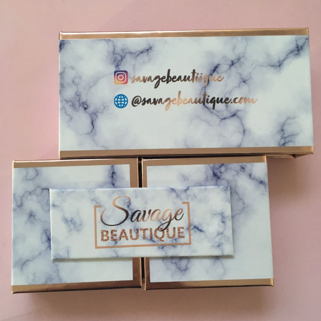 Open-Door Blue Marble Eyelash Packaging Box