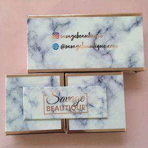 Open-Door Blue Marble Eyelash Packaging Box